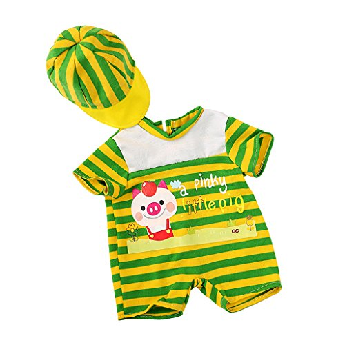 MagiDeal Handmade Green Striped Jumpsuit with Hat for 43-45c