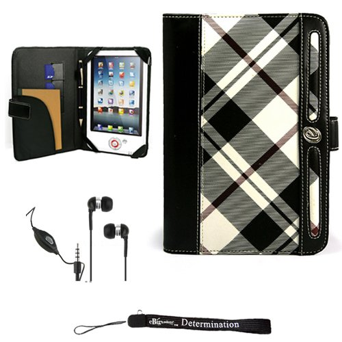 Leather Pink Case Melrose - eBigValue White Elegant Leather Plaid Melrose Case for 7' in Google Android Touchpad Tablet + Includes a Crystal Clear HD Noise Filter Ear Buds