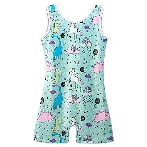 - HOUZI Sparkly Dinosaur Print Gymnastics Biketards for Girls 5t Size 5-6 Leotards Unitards