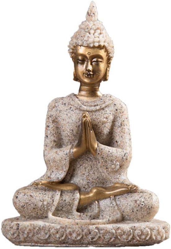 ypypiaol Estatua De Buda De Piedra Arenisca Escultura Figura Hecha A Mano Decoración De Artesanía De Oficina En Casa 1#