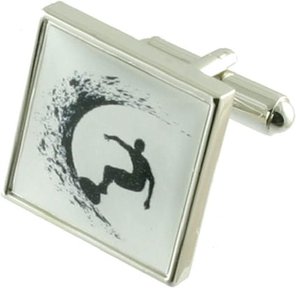 Personalised Engraved Message Box Select Gifts Surfer Ocean Cufflinks Solid Sterling Silver 925