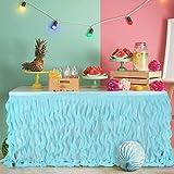 Leegleri 6ft Curly Willow Table Skirt Aqua Tulle Tutu Table Skirt Taffeta Table Skirt for Round Table or Rectangle Tables,Table Skirting for Weeding,Baby Shower Decoration