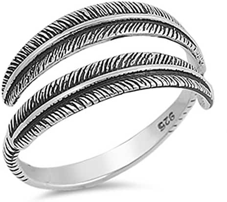 Leaf Oxidized Open Designer Ring New .925 Sterling Silver Band Sizes 5-12