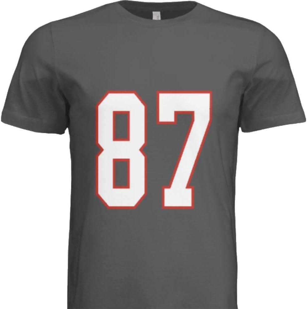 Hall of Fame Sports Memorabilia NWT New Gronkowski #87 Tampa Bay Grey Pewter Custom Screen Printed Football T-Shirt Jersey No Brands//Logos Mens