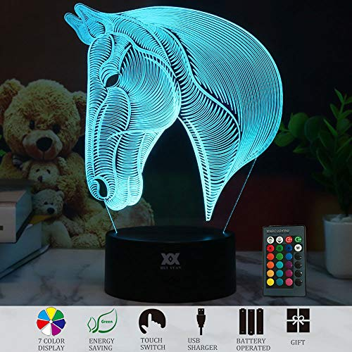 3D Illusion Animal Horse Head LED Desk Table Night Light Lamp 7 Color Touch Lamp Kiddie Kids Children Family Holiday Gift Home Office Childrenroom Theme Decoration by HUI YUAN (Remote -
