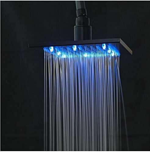 Gowe LED Color Changing Oil Rubbed Broze Shower Set Bathroom Tub Faucet Double Handles Wall Mounted 2