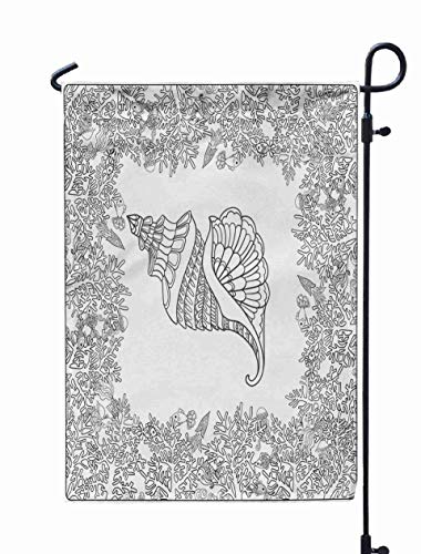 Shorping Welcome Garden Flag, 12x18Inch Adult Coloring Page Corals Sea Shells Outline Drawing for Holiday and Seasonal Double-Sided Printing Yards Flags -