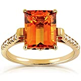Emerald-cut Orange Citrine and Diamond Ring 2 5/8 Carat (ctw) in Silver with 14K Gold Plating, Size 11