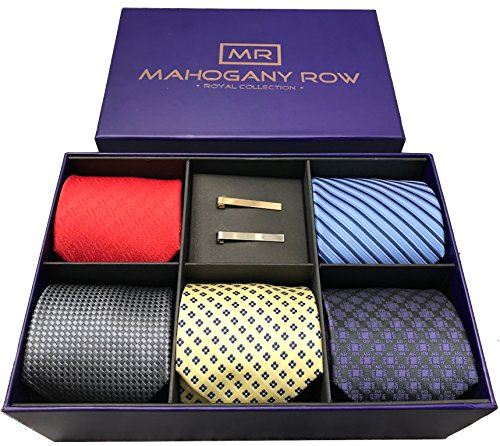 Mens Designer Neckties, 2 Modern Tie Bars, Designer Gift Box, The must have Mens Necktie Set