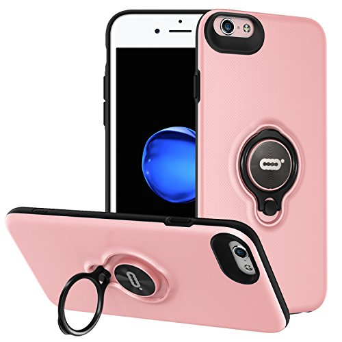 iPhone 6s / iPhone 6 Case with Ring Holder Kickstand Function, 360 Degree Rotating Ring Holder Grip Case Ultra Slim Thin Hard Cover for iPhone 6s / 6(4.7inch) (Pink)
