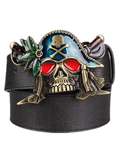 Moolecole Men's Pirate Skull Big Buckle Belt Fashion Punk Belt Black Accessories Skull Belt Buckles