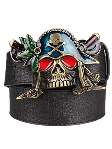 Belt Accessories Skull Buckles (Moolecole Men's Pirate Skull Big Buckle Belt Fashion Punk Belt Black)