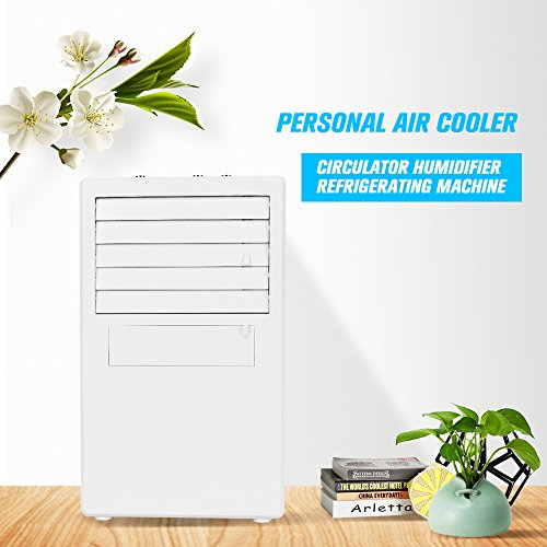OWSOO Personal Mini Air Conditioner Fan Air Cooler Circulator Humidifier Refrigerating Machine Quiet Small Desktop Fan with Power Adapter for Office, Dorm,White by OWSOO
