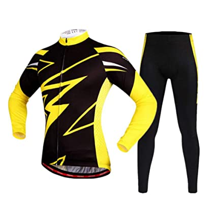 Black Color Mens Cycling Jersey Bib Pant Set Long Sleeve Mens Cycling Jersey Set