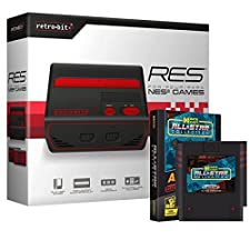Retro-Bit RES Edition [Standard Definition] Console System (2017) with Data East All Star Collection NES Multi-Cart Bundle for NES - Black/Red