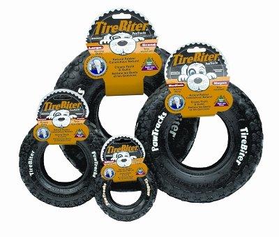 Tire Biter Paw Track Dog Toy in Black Size  Medium (8\  H)