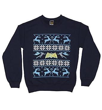 Unisex Navy Batman Logo And Reindeer DC Comics Fair Isle Christmas ...