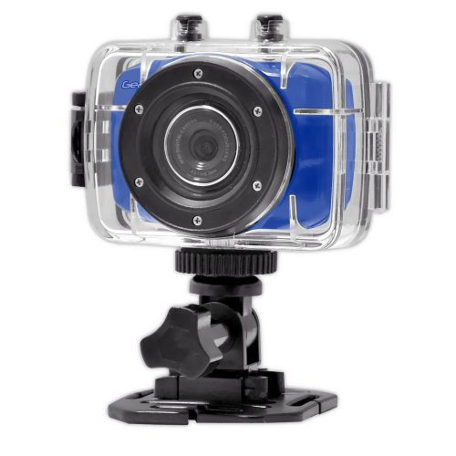 Gear-Pro High-Definition Sport Action Camera720p Wide-Angle Camcorder With 2.0 Touch Screen - SD Card Slot USB Plug And Mic - All Mounting Gear Included - For Biking Riding Racing Skiing And Water Sports Etc. - BLUE