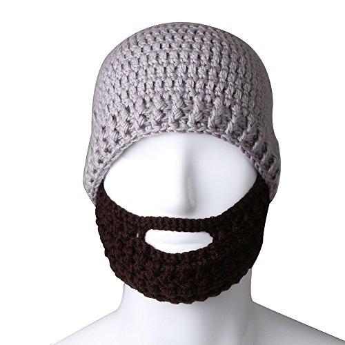 Free Fisher Unisex Knit Beanie Stubble Beard Style2 Grey+Coffee Fisher Cap