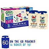 GoGo squeeZ YogurtZ, Variety Pack (Blueberry/Berry), 3 Ounce (60 Pouches), Low Fat Yogurt Gluten Free, Healthy Snacks, Recloseable, BPA Free Pouches