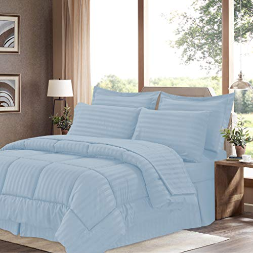 Light 8 Piece Collection - Sweet Home Collection 8 Piece Bed In A Bag with Dobby Stripe Comforter, Sheet Set, Bed Skirt, and Sham Set - Queen - Light Blue