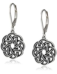 Sterling Silver Oxidized Celtic Knot Lever-Back Drop Earrings