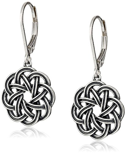 celtic knotwork earrings sterling silver oxidized celtic knot leverback dangle 9782