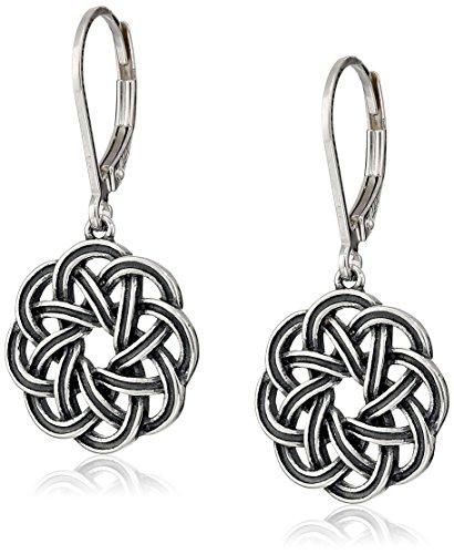Sterling Silver Oxidized Celtic Knot Leverback Dangle Earrings