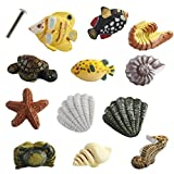 Creation Core Marine Series Rsin Decor Cabinet Handle Knobs for Drawers or Doors Fish Starfish Seahorse Shrimp Turtle Crab Conch Shell Handle Knobs(12PCS + 2.5cm Screw)