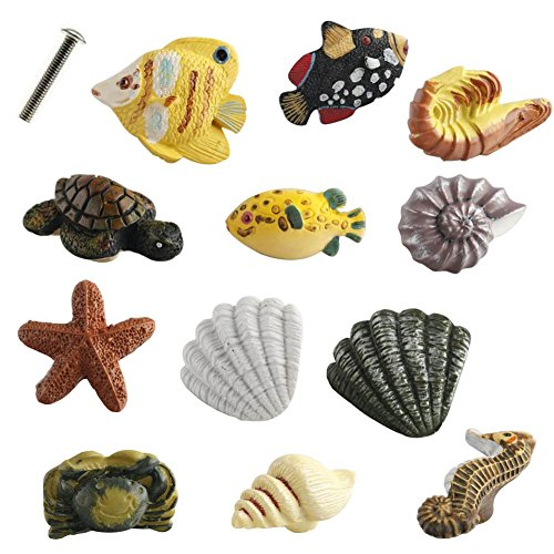 Creation Core Marine Series Rsin Decor Cabinet Handle Knobs for Drawers or Doors Fish Starfish Seahorse Shrimp Turtle Crab Conch Shell Handle Knobs(12PCS+4.5cm Screw)