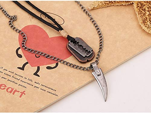 Vintage Mens Necklace Alloy Animal Wolf Tooth Razor Blade Pendants Necklace Multilayer Metal Chain Choker Male Punk Jewelry