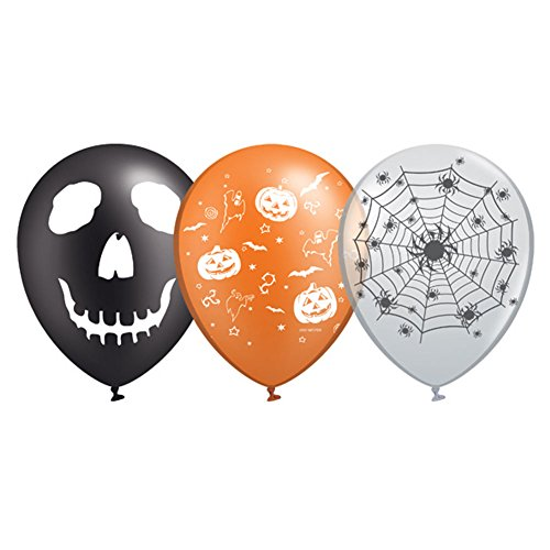 Halloween Tech Costumes (Halloween Fun Party Balloons 12 inch 20 pcs in 3 colors and prints Black Type)