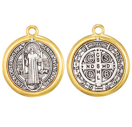 - 30pcs Religious Wear Saint Benedict Medallion Antique Silver and Gold Two Tone Medal Pendant Charms for Necklaces Bracelets(11439)