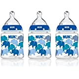 NUK 14059 Elephants Baby Bottle with Perfect Fit Nipple, Slow Flow, 5 Ounces, 3 Pack
