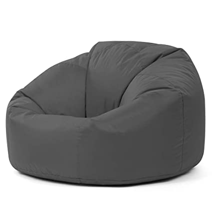 Peachy Bean Bag Bazaar Panelled Classic Bean Bag Chair Slate Grey Large 84Cm X 70Cm Indoor Outdoor Water Resistant Beanbags Machost Co Dining Chair Design Ideas Machostcouk
