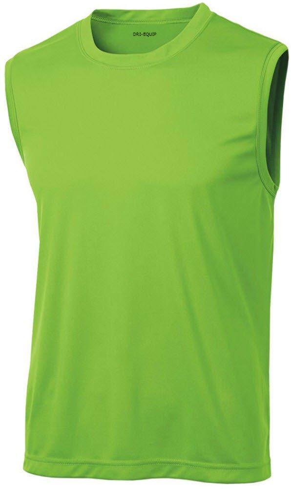 44b7234459833 Galleon - DRIEQUIP Mens Sleeveless Moisture Wicking Muscle T-Shirt-Lime-3XL