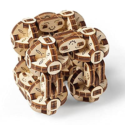 UGEARS Flexi-Cubus Brainteaser, 3d Mechanical Model, Wooden Puzzle - Ideal Gift for Adults and Teens: Toys & Games