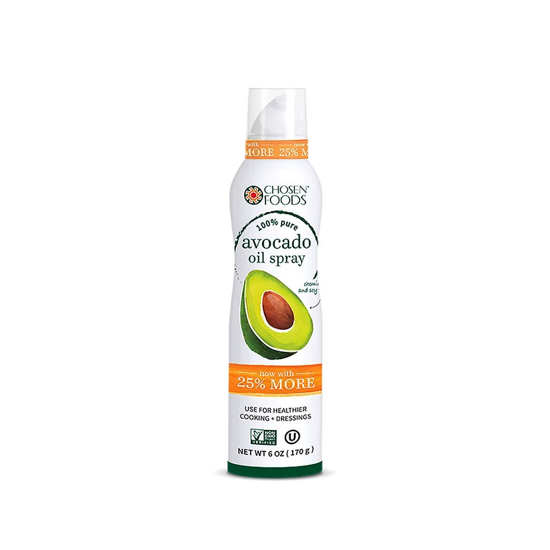 Chosen Foods 100% Pure Avocado Oil Spray 6 oz. (6 Pack), Non-GMO, 500° F Smoke Point, Propellant-Free, Air Pressure Only for High-Heat Cooking, Baking and Frying by Chosen Foods
