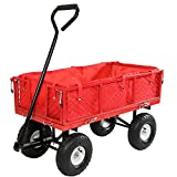 Sunnydaze Red Utility Cart with Folding Sides and Liner Set, 34 Inches Long x 18 Inches Wide, 400 Pound Weight Capacity