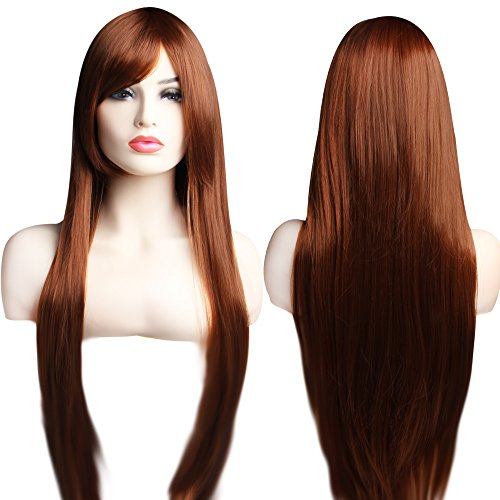Pinklover Unisex 31.5 inches Inclined Straight Bangs Halloween Costume Carnival Cosplay Show Hair Full Wig Long (Dark Coffee)