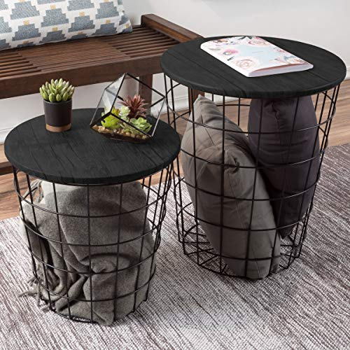 Lavish Home Nesting End Tables with Storage (Black) (Nested End Tables)