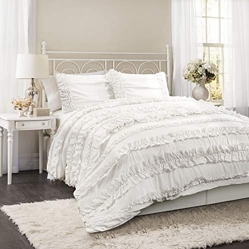 Shabby Chic Shabby Comforter - Lush Decor Belle 4 Piece Ruffled Shabby Chic White Comforter Set with Bed Skirt and 2 Pillow Shams - Queen Comforter Set