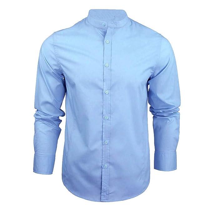 922031b89399a ... Camisa para Hombre Manga Larga Moda Simple Color Sólido Solapa Botón  Casual Slim Fit Estilo De Negocios Camiseta Polo Tops  Amazon.es  Ropa y  accesorios