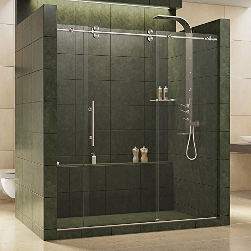DreamLine Enigma 68-72 in. W x 79 in. H Fully Frameless Sliding Shower Door in Brushed Stainless Steel, 1/2 in. Glass, SHDR-60727912-07