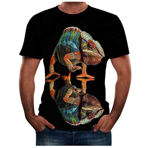 T-Shirt Tees Animal 3D Printed Short Sleeve Fashion Shirts Summer Fashion Round Neck Personalit Print Top Blouse Men (3XL,2- Black) -