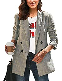 Women's Casual Check Plaid Loose Buttons Work Office Blazer Suit