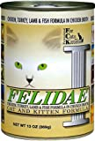 Felidae Canned Cat Food for Adult Cats and Kittens, Formula with Chicken, Turkey, Lamb and Ocean Fish (Pack of 12 13 Ounce Cans), My Pet Supplies