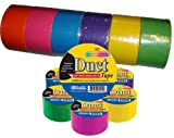 Tools & Hardware : Bazic Fluorescent Colored Duct Tape, Assorted Colors, Pack of 6, 1.89-inch x 10 Yard