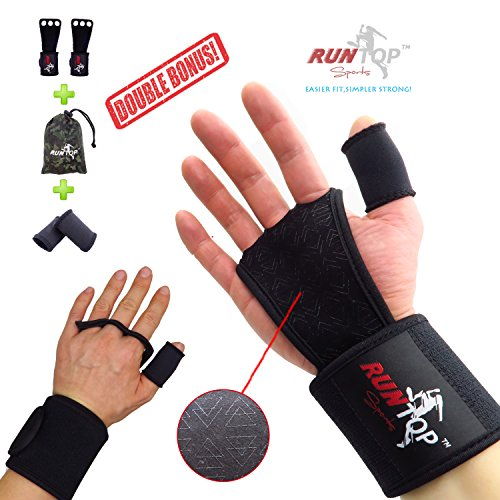 """RUNTOP Crossfit WODS Training Grip Gloves Pads with Strong Wrist Wrap (18"""" Professional Quality) Brace Support & Silicone Padding Workout Fitness Weight Lifting Powerlifting GYM (Black, L)"""