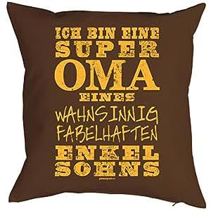 Almohada con mensaje OMA Diseño–Super Oma un fabelhaften Nietos sohns–Regalo–cumpleaños–Marrón